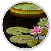 Waterlilies And Platters Vertical Romance Round Beach Towel
