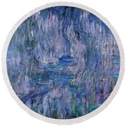 Waterlilies And Reflections Of A Willow Tree Round Beach Towel