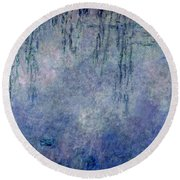 Waterlilies Two Weeping Willows Round Beach Towel