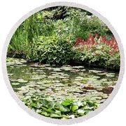 Waterlily Pond Giverney Round Beach Towel