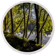 Waters Edge Round Beach Towel by Bob Orsillo