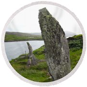 Waters Edge Stones At Bernera Round Beach Towel