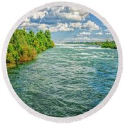 Waters Feeding Niagara Falls Round Beach Towel