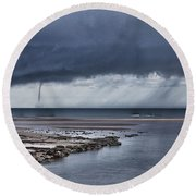 Waterspout Over The Ocean Round Beach Towel