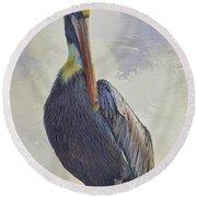 Waterway Pelican Round Beach Towel by Deborah Benoit