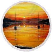 Watery Sunset At Bala Lake Round Beach Towel