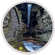 Watkins Glen Central Cascade Round Beach Towel