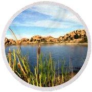 Watson Lake Arizona Round Beach Towel