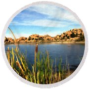 Watson Lake Round Beach Towel by Kurt Van Wagner