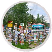 Watson Lake Sign Forest Along Alaska Highway In  Yukon-canada Round Beach Towel