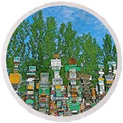 Watson Lake Sign Forest-yt Round Beach Towel by Ruth Hager