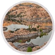 Watson Lake Sunset Round Beach Towel by Angie Schutt