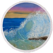 Wave At Sunrise Round Beach Towel