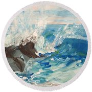 Wave At Sunset Beach Round Beach Towel
