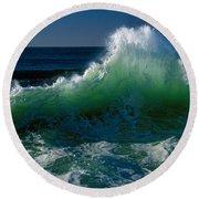 Wave Crashing On Pacific Coast, Oregon Round Beach Towel