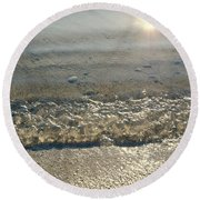 Wave On The Beach Round Beach Towel