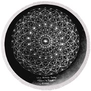 Wave Particle Duality Black White Round Beach Towel