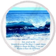 Wave Serenity Prayer Round Beach Towel