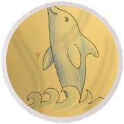 Wave The Suzuki Dolphin Round Beach Towel by Sheri Lauren Schmidt