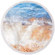 Wave Up Close Round Beach Towel