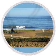 Wave Upon San Simeon Shore Round Beach Towel