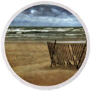 Waves And Clouds  Round Beach Towel