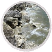 Waves And Rocks 6 Round Beach Towel
