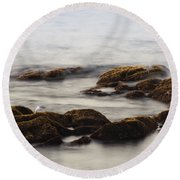 Waves And Rocks Round Beach Towel