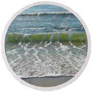 Waves At 7 Am Round Beach Towel