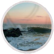 Waves At The Point West Cape May Nj Round Beach Towel