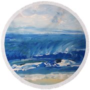 Waves At West Cape May Nj Round Beach Towel