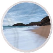 Waves Breaking At Murder Hole  County Round Beach Towel