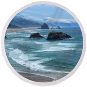 Waves Coming Ashore Round Beach Towel