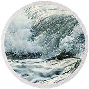 Waves In Stormy Ocean Round Beach Towel
