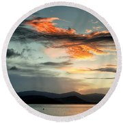 Waves In The Clouds Round Beach Towel