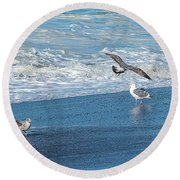 Waves In The Pacific Ocean, Point Reyes Round Beach Towel