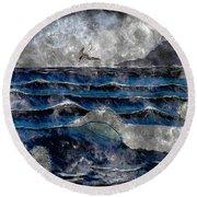 Waves - Ocean - Steel Engraving Round Beach Towel