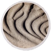Waves Of A Desert - Mesquite Sand Dunes Round Beach Towel