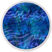 Waves Of Blue - Abstract Art Round Beach Towel