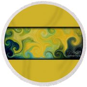 Waves Of Gold Round Beach Towel