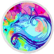 Waves Of His Love Round Beach Towel