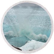 Waves Of Pancake Ice Crashing Ashore Round Beach Towel