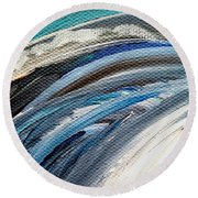 Textured Waves Of Blue Round Beach Towel