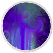 Waves Of Violet - Abstract Round Beach Towel