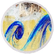 Waves On A Wall Round Beach Towel
