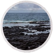 Waves Over  Rocks Round Beach Towel