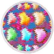 Waves Pattern Crystals Jewels Rose Flower Petals Round Beach Towel