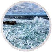 Waves To Rocks Round Beach Towel