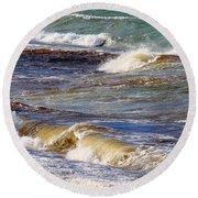 Waves - Wind - Fury Of The Sea Round Beach Towel