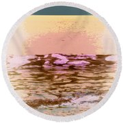 Waves With Sunset Round Beach Towel